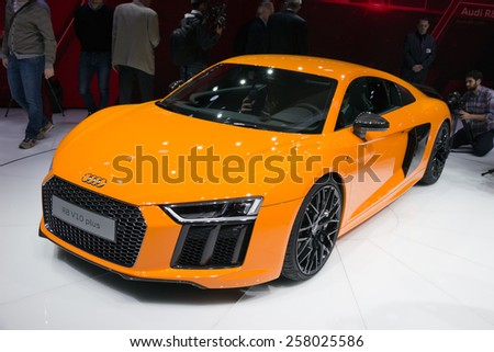 GENEVA, SWITZERLAND - MARCH 4, 2015: Official debut of the New Audi R8 at the 85th International Geneva Motor Show in Palexpo. - stock photo