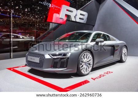 GENEVA, SWITZERLAND - MARCH 4, 2015: Official debut of the New Audi R8 V10 Plus at the 85th International Geneva Motor Show in Palexpo. - stock photo