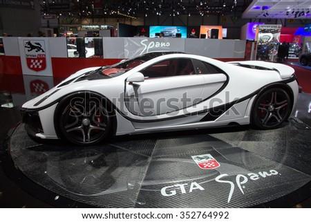 GENEVA, SWITZERLAND - MARCH 3, 2015: Spania GTA Spano at the 85th International Geneva Motor Show in Palexpo, Geneva. - stock photo