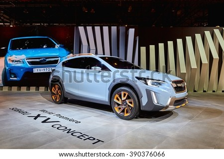 Geneva, Switzerland - March 1, 2016: 2016 Subaru XV Concept presented on the 86th Geneva Motor Show in the PalExpo