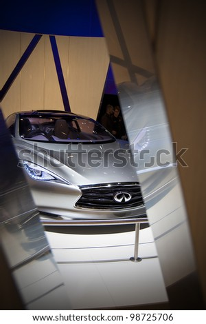 Superb GENEVA SWITZERLAND   MARCH 12: The Infiniti Stand Displaying A Front End  View Of The Photo