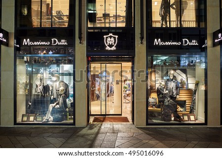 GENEVA, SWITZERLAND - NOVEMBER 18, 2015: a store in Geneva at night. Geneva is the second most populous city in Switzerland, after Zurich.