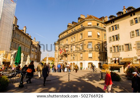 GENEVA, SWITZERLAND - OCT 10, 2016: Architecture of Geneva, Switzerland. It is a global city, a financial center, and worldwide center for diplomacy