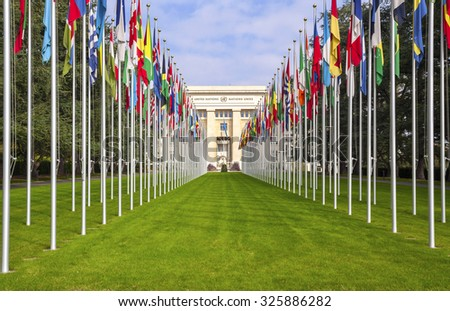 GENEVA, SWITZERLAND - SEPTEMBER 27, 2015: National flgs at the entrance in UN office at Geneva, Switzerland . The United Nations was established in Geneva in 1947 and is the second largest UN office.