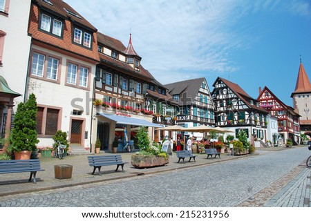 GENGENBACH - August 6: street and buildings in the town of Gengenbach, Germany on August 6, 2013. The town is famous for the world's biggest advent calendar and is a popular tourist destination. - stock photo