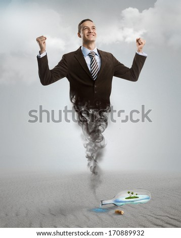 Genie business man appearing from the magic lamp or bottle. Help, assistance urgent solution concept - stock photo