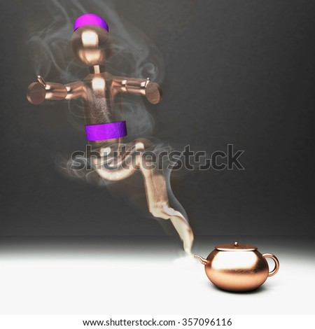 Genie coming out from a bronze teacup, square image, 3d render