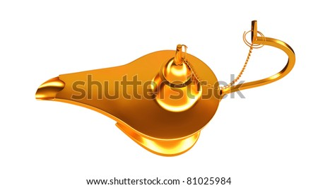 Genie golden lamp top view isolated over white background
