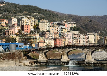 Genoa and the riiver Bisagno