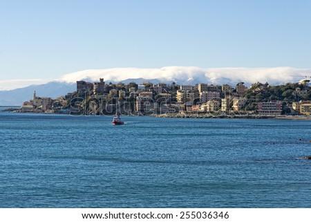 genoa coastal houses cityscape panorama on sunny winter day - stock photo
