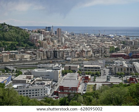 GENOA, ITALY - APRIL 19, 2017: View of the industrial area of Genova Campi (Polcevera Valley).