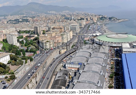 GENOA, ITALY - APRIL 25, 2011: View of the International Fair of Genoa. In the picture, the pavilion S, more 'known as the Palasport, one of the first examples of European large marquee.