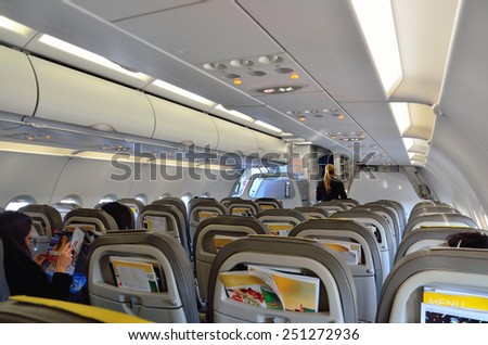 GENOA ITALY- JANUARY 1 - an airliner Airbus A320 waiting for takeoff- Genoa Italy 1 2015   - stock photo