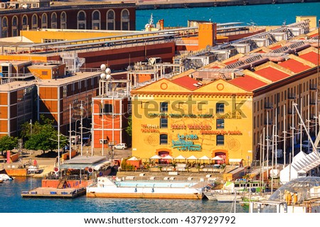 GENOA, ITALY - MAY 4, 2016:  Aerial view of the Old Port of Genoa. Genoa is the capital of Liguria and the sixth largest city in Italy