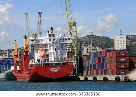 Genoa, Italy May 6, 2014: EEMSDIJK GRONINGEN - CONTAINER SHIP in the port of Genoa