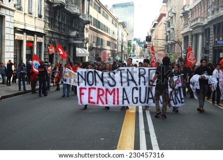 "GENOA, ITALY-NOVEMBER 14: general strike of students, temporary workers and workers against the labor policies of the government ""Renzi""- Genoa, Italy on nov 14, 2014"