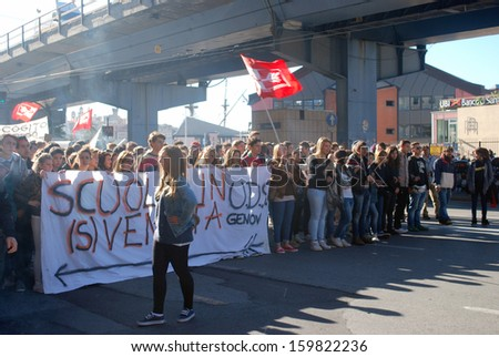 GENOA, ITALY-OCTOBER 11: General strike against the policies of cutting and austerity of italian government in particular against the cuts and privatization of school- Genoa, Italy on Oct 11, 2013