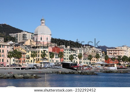 GENOA, ITALY - OCTOBER 9, 2011: Pegli beach on October 9, 2011 in Genoa, Italy. It is one of the most popular beach resorts on the Mediterranean Sea and a landmark in Liguria province. - stock photo