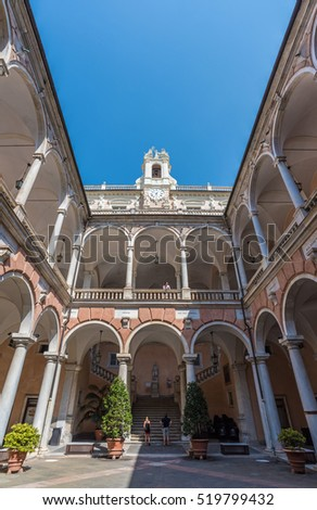 GENOA, ITALY - 10 SEPTEMBER 2016 - A visit in the big city in northern Italy, capital of the Liguria region, with the largest port and the quaint historic center. In this picture the Town Hall