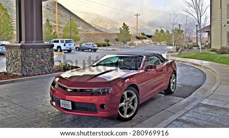 Genoa, NV, USA - FEBRUARY 27: Chevrolet Camaro convertible parked on February 27, 2015 near David Walley's Hot Springs Resort - stock photo