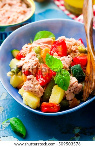 Genoa Salad with Tuna.selective focus