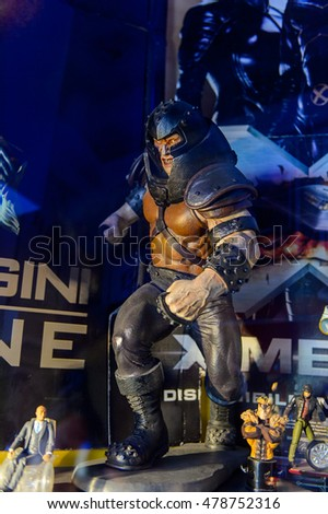 GENOVA, ITALY - MAY 4, 2016: Juggernaut, X men, International cinema museum in Genova, Italy. Museum with collections about the popular Hollywood movies.