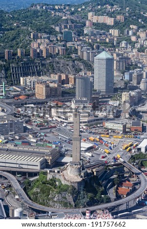 Genova town Italy aerial view from airplane