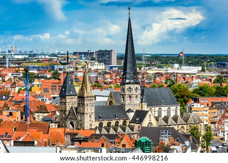Gent, Belgium. Skyline of Ghent (Gand) in West Flanders, seen from Belfort tower with St. Jacob Church. - stock photo