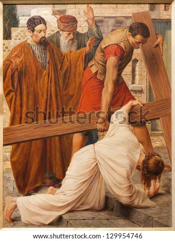 GENT - JUNE 23: Jesus fall under cross in st. Peter s church by Rene de Cramer from year 1917 on June 23, 2012 in Gent, Belgium. - stock photo
