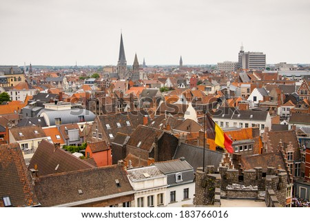 Gent, top view above roofs and medieval buildings - stock photo