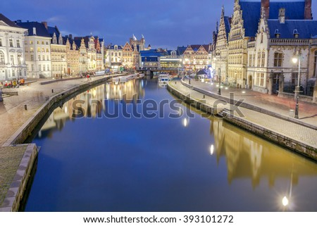 Gent. View of the old city at night. - stock photo
