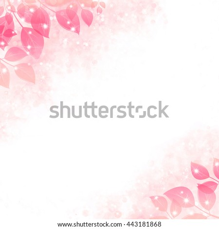 Gentle background with the sparkling leaves, pink. Air design, a form for the text, with bright natural elements in corners. For creation of an album, greeting cards, etc.