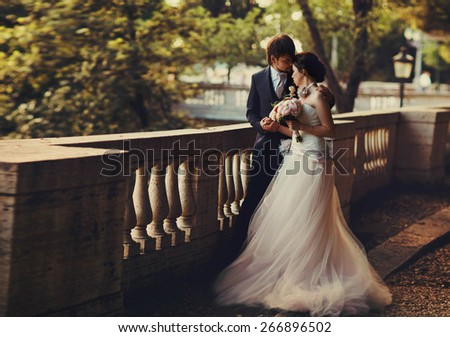 gentle beautiful bride and groom holding hands looking at each other near the ancient fence balcony Roma Italy - stock photo