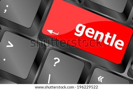 gentle button on computer pc keyboard key - stock photo