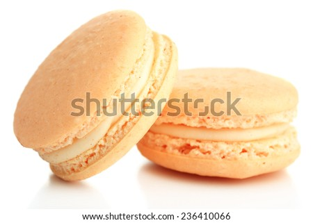 Gentle colorful macaroons isolated on white - stock photo