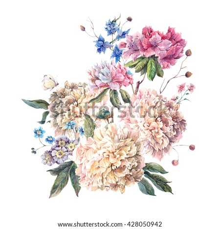 Gentle Decoration Vintage Floral Greeting Card with Blooming White Peonies and Wild Flowers, Watercolor Botanical Natural Peonies Illustration isolated on white. Summer floral peonies bouquet