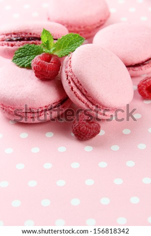 Gentle macaroons on table close-up - stock photo
