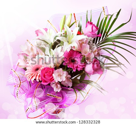Gentle Pink And White Spring Flowers Bouquet With Red Rose Alstroemeria Lily