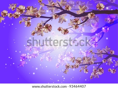 Gentle spring flowers and branches background. - stock photo