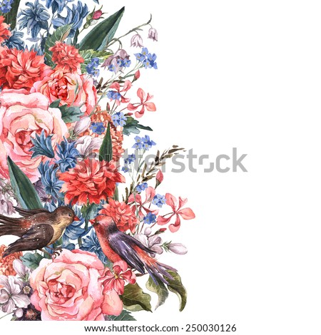 Gentle Vintage Floral Greeting Card with Blooming Roses, Hyacinths, Wild Flowers and Birds, Watercolor Illustration. - stock photo