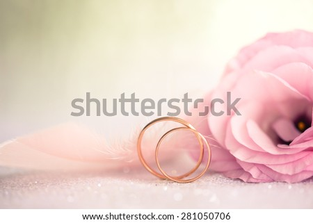 Gentle Wedding Background with Rings and Beautiful Flower, retro style toned - stock photo