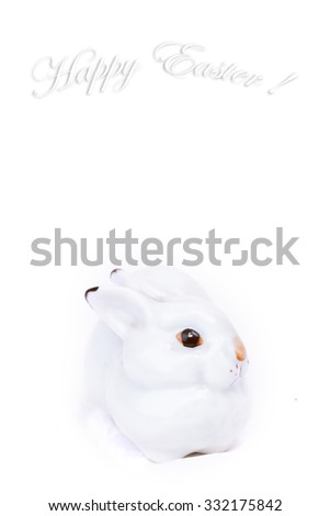 gentle white background Easter bunny - stock photo