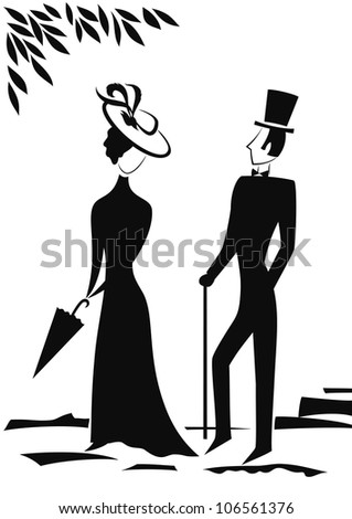 Gentleman and Lady in park, symbolic vintage style, black silhouette on white background. Vector illustration - stock photo
