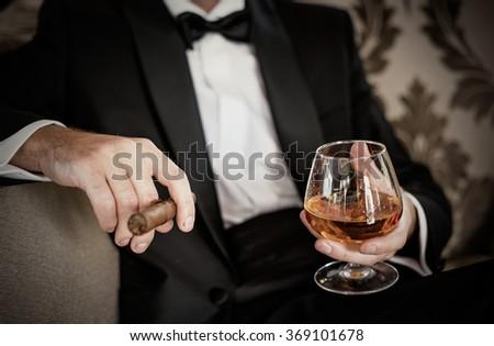 Gentleman Holding Glass Cognac Cigar Stock Photo 369101678