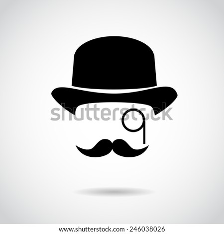 Gentleman icon isolated on white background.  - stock photo