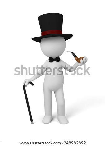 gentleman in a hat and with a tobacco pipe. 3d image. Isolated white background. - stock photo