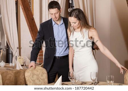 Gentleman in restaurant before dinner or date - stock photo