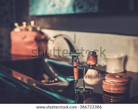 Gentleman's accessories in a luxury bathroom interior.  - stock photo