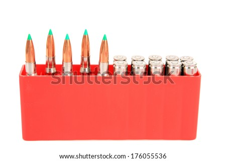 Genuine 30.06 Cartridges in a nickel coated finish, and a ballistic tip bullet. The Ballistic Tip Explodes on Impact making a Lasting Impression on what or whom ever it shoots. isolated over white   - stock photo