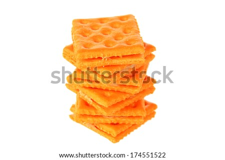 Genuine Generic Cheese and Peanut Butter Crackers. Isolated on white with room for your text. The perfect Cheese Cracker image for all your needs. - stock photo